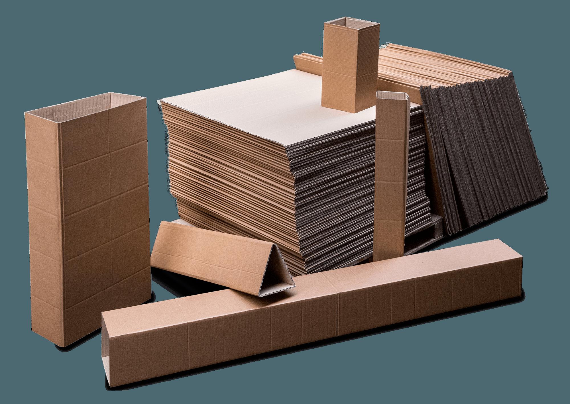 Bodegón de cajas hechas con fanfold
